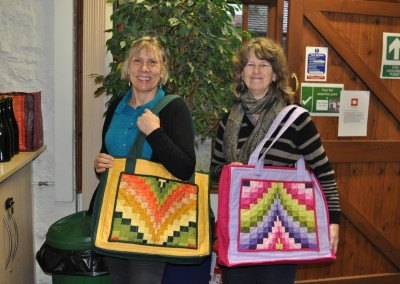 Annie & Jan with Bargello bags