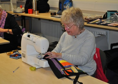 Sally working on her strippy bag