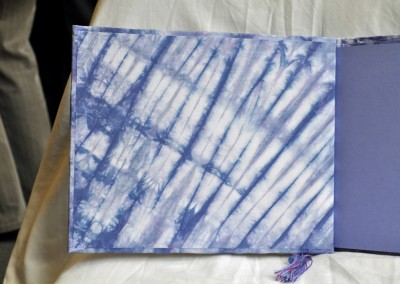 Tie-dyed book inside cover