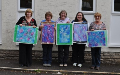 2013 (Bristol monthly leisure class before changing it to a C&G class) Carole N, Jane, Carole W, Janet, Gill. They're holding up sunprints!