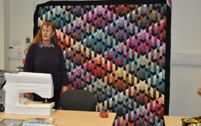 Kathy Eagle with quilt from Jan Hassard workshop