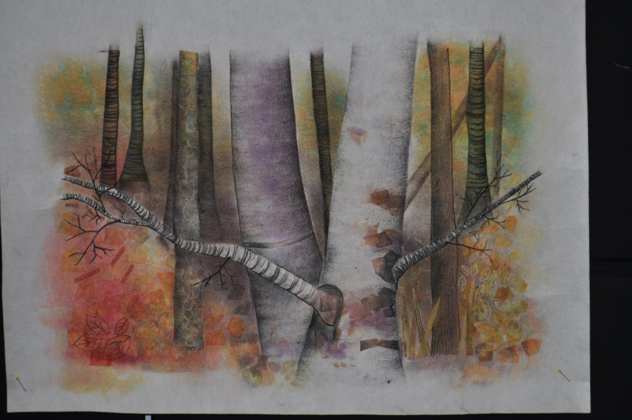 Maggie's Woodland scene transfer printed and markalled WIP