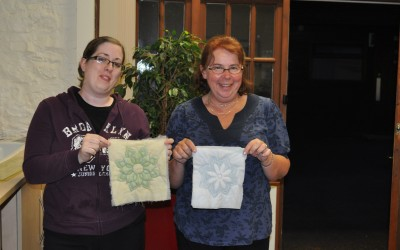 Tammy & Sally with transfer-printed Trapunto samples