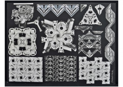 Industrial Design Board - experiments with black & white paper collage drawn from a Cadillac engine (top left)!
