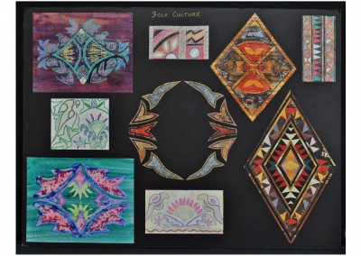 Folk Culture Design board based on sketches of Indian textiles.