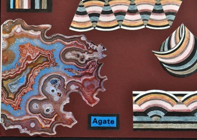 Geological board. I chose to explore the curves stripes found in Agate